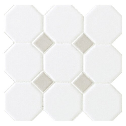 """Daltile Octagon and Dot 2"""" x 2"""" Mosaic in Matte White with Gray Gloss Dot"""
