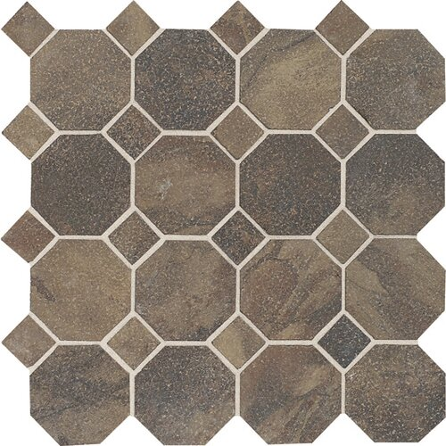 Aspen Lodge Octagon Dot Mosaic Field Tile in Midnight Blaze