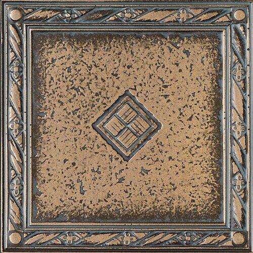 "Daltile Metal Signatures Diamond Weave 4"" x 4"" Floor Border Corner Tile in Aged Bronze"