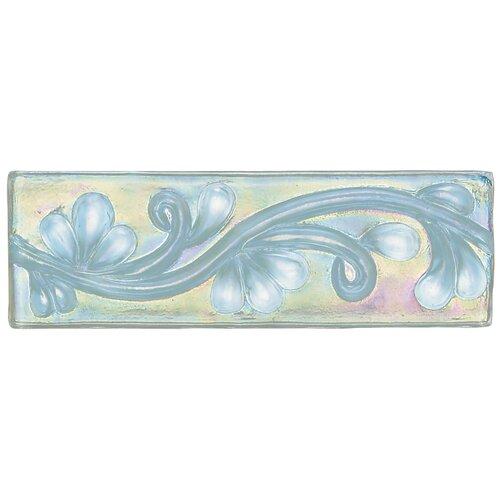 """Daltile Cristallo Glass 8"""" x 3"""" Decorative Vine Chair Rail Tile Trim in Aquamarine"""