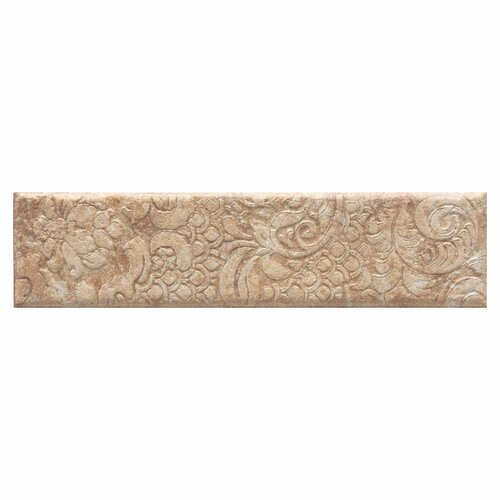 "Daltile Del Monoco 13"" x 3"" Glazed Decorative Border in Adriana Rosso"
