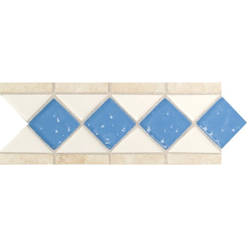 "Daltile Fashion Accents 11"" x 4"" Decorative Listello in Arctic White/Lagoon/Travertine"