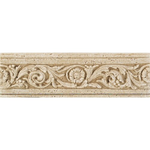 Fashion accents 13 x 4 romanesque decorative listello in for Travertine accent tile