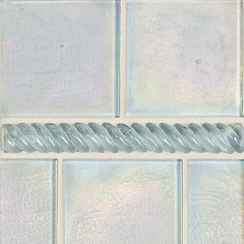 """Daltile Cristallo Glass 8"""" x 1"""" Decorative Rope Pencil Rail in Aquamarine"""