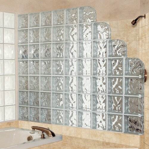 "Daltile Glass Block 8"" x 8"" Decora Encurve Finishing Unit"