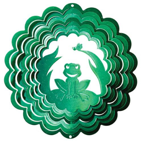 Iron Stop Green Frog Wind Spinner