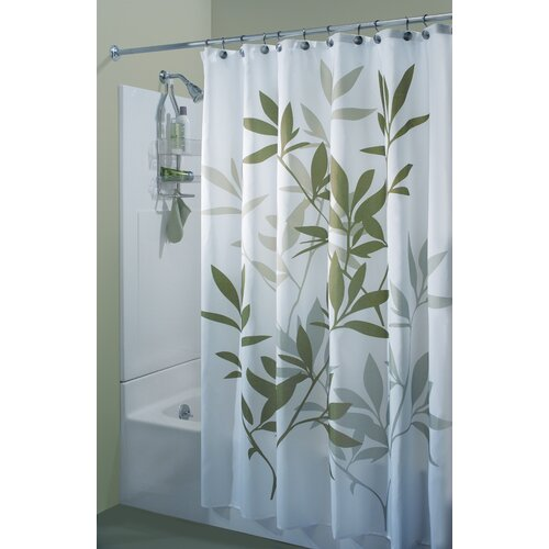 Leaf Print Shower Curtain Sage Print Shower Curtain