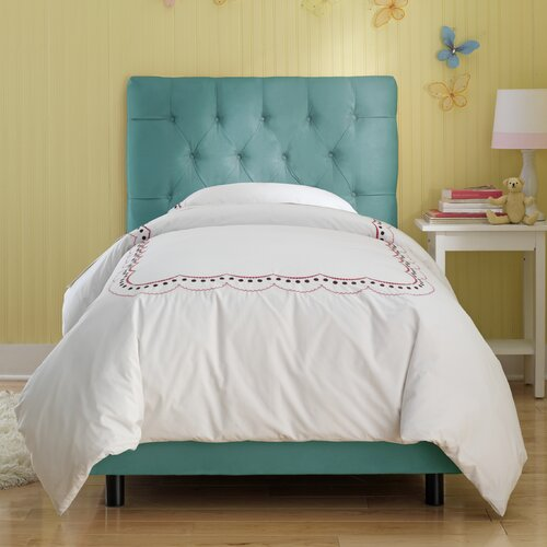 Tufted Micro-Suede Youth Bed in Azure