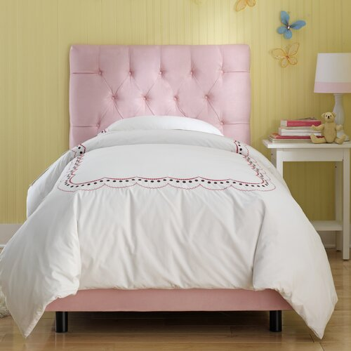Skyline Furniture Tufted Micro-Suede Youth Bed in Light Pink