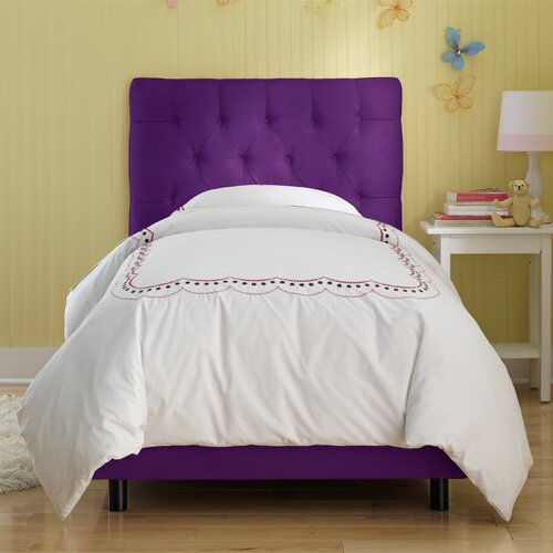 Tufted Micro-Suede Youth Bed in Purple