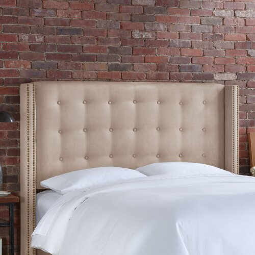 Skyline Furniture Nail Button Tufted Microsuede Wingback Headboard