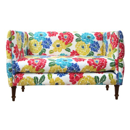Skyline Furniture Nail Button Tufted Settee Loveseat