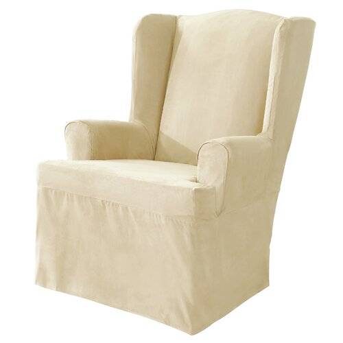 sure fit soft suede wing chair t cushion slipcover reviews wayfair
