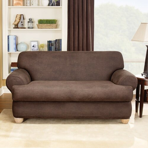 Stretch Leather Two Piece Loveseat T-Cushion Slipcover