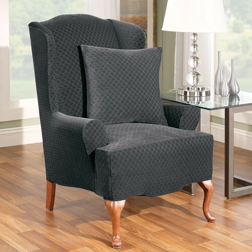 Stretch Stone Wing Chair Slipcover
