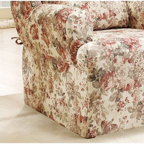 Sure-Fit Chloe Floral Wing Chair T Cushion Skirted Slipcover