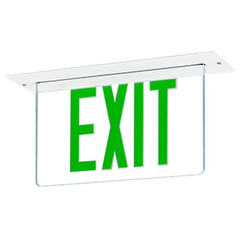 Royal Pacific Single Edge Recessed LED Exit Sign Light in Green