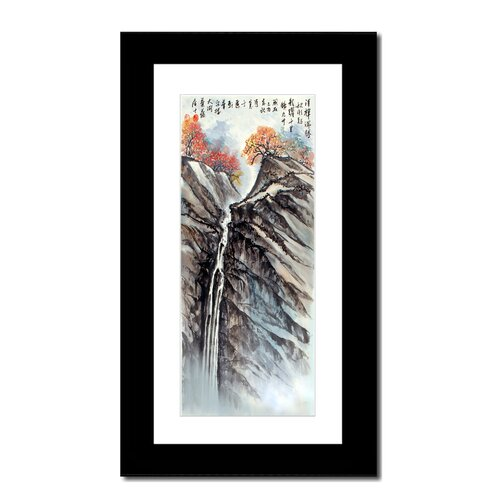 Oriental Design Gallery Mountain Waterfall by Lin Hung Tsung: 10x20 Frame with Mat