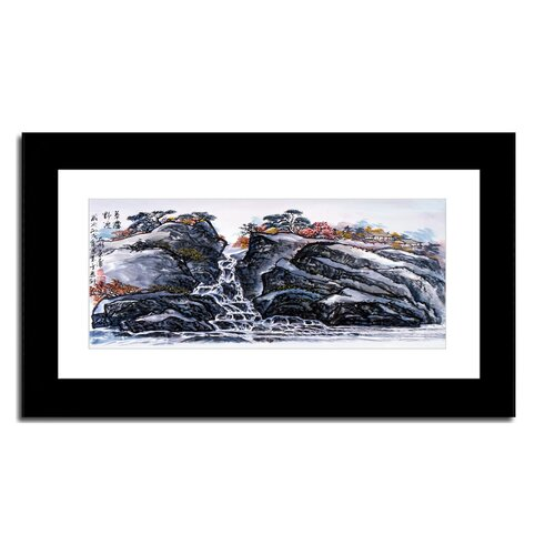 Hilltop Waterfall and Village by Lin Hung Tsung Framed Painting Print