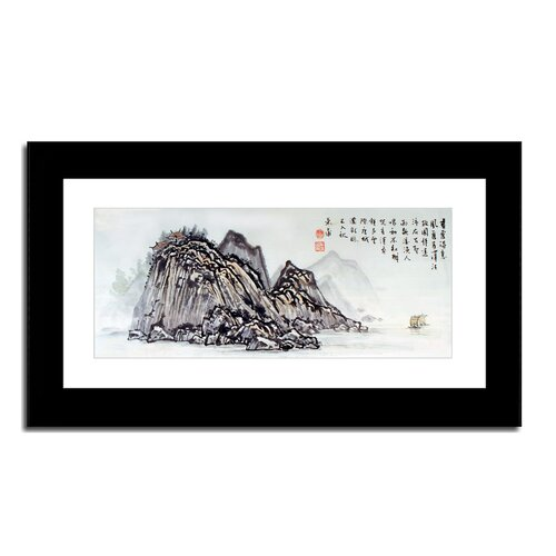 Oriental Design Gallery Village on River by Lin Hung Tsung Framed Painting Print