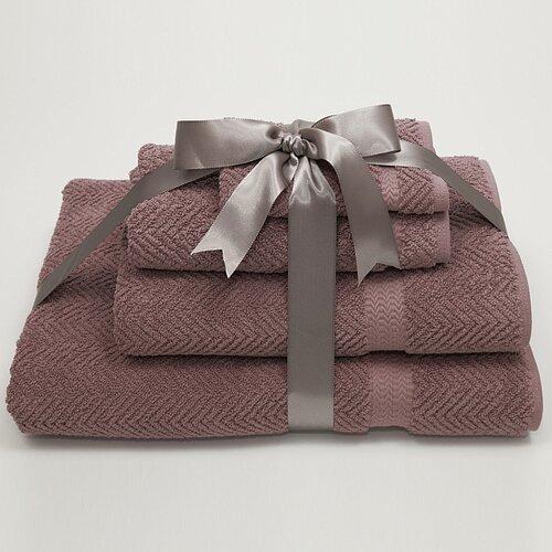 Luxury Hotel & Spa Herringbone Weave 100% Turkish Cotton 4 Piece Towel Set
