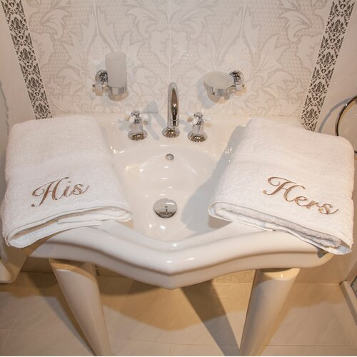 Linum Home Textiles Luxury Hotel and Spa Personalized His and Hers Hand Towel