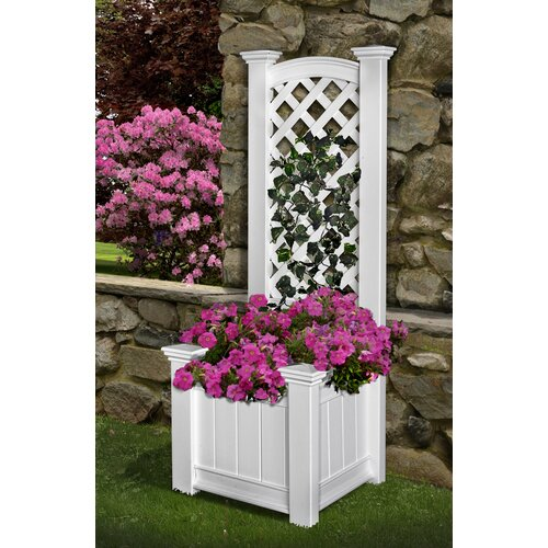 New England Arbors Kensington Rectangular Box Planter Trellis