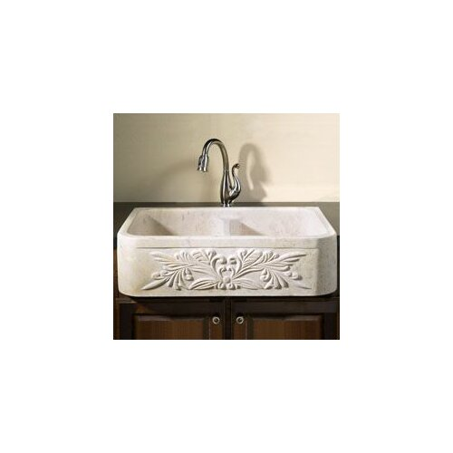 "Allstone Group 36"" x 20"" Farmhouse Kitchen Sink with Floral Motif"