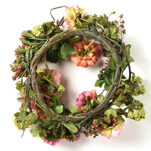 "Nearly Natural 24"" Peony Wreath"
