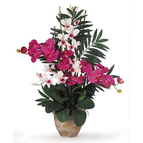 Nearly Natural Double Phalaenopsis and Dendrobium Silk Orchid Arrangement in Beauty Pink and White