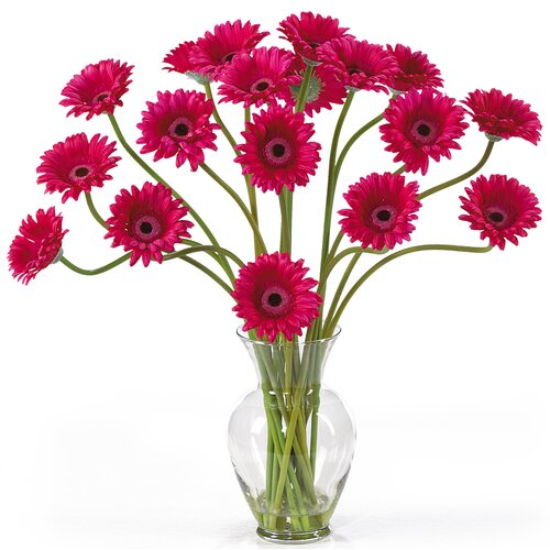 Nearly Natural Liquid Illusion Silk Gerber Daisy Arrangement in Beauty Pink