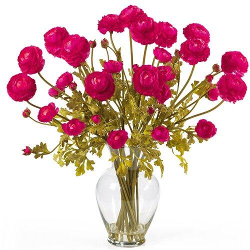 Nearly Natural Liquid Illusion Silk Ranunculus Arrangement in Beauty Pink