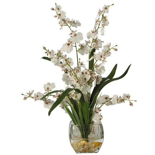 Nearly Natural Liquid Illusion Dancing Lady Silk Orchid Arrangement in White