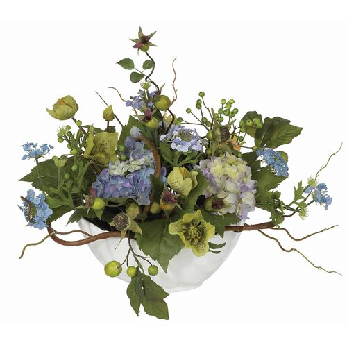 Nearly Natural Hydrangea Centerpiece in Blue
