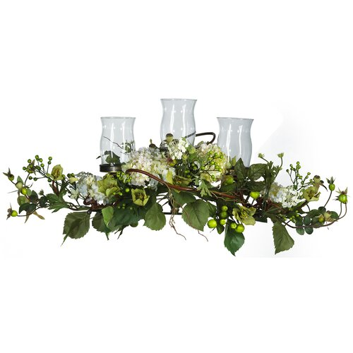 Nearly Natural Hydrangea Triple Candleholder in Cream