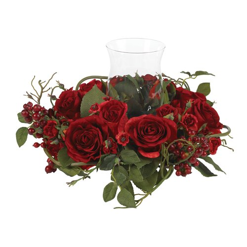 Silk Rose Arrangement Candleholder in Red