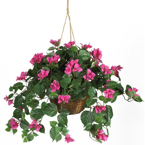 Nearly Natural Silk Bougainvillea Hanging Plant in Basket