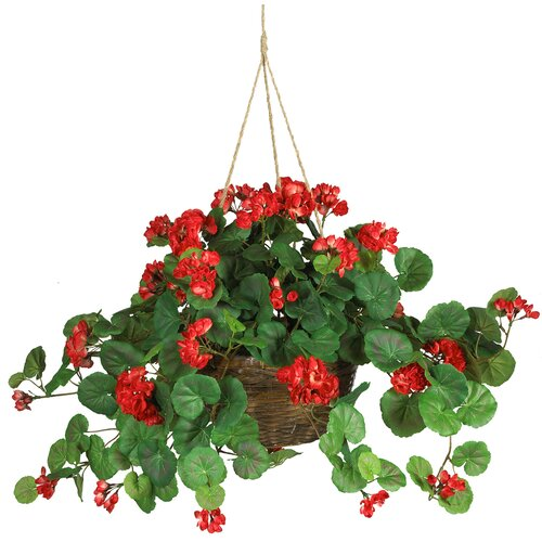 Nearly Natural Red Silk Geranium Hanging Plant in Basket