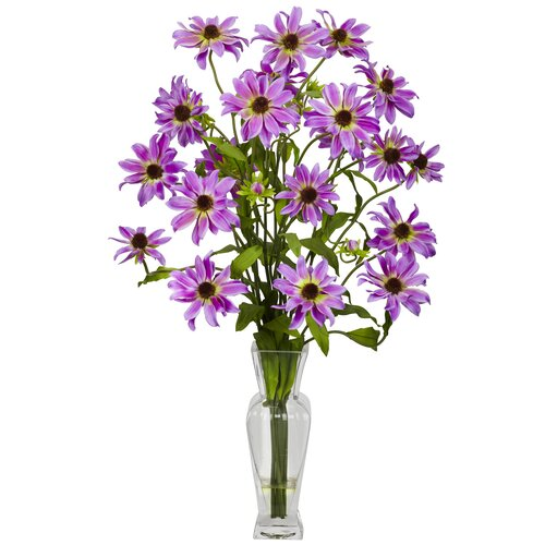 Nearly Natural Cosmos with Vase Silk Flower Arrangement in Purple