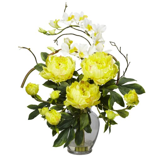 Nearly Natural Peony and Orchid Silk Flower Arrangement in Yellow