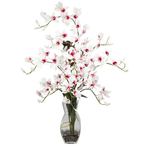 Nearly Natural Dendrobium with Vase Silk Flower Arrangement in White
