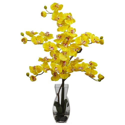 Nearly Natural Phalaenopsis with Vase Silk Flower Arrangement in Yellow