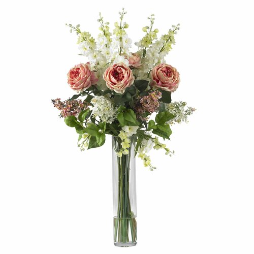 Rose, Delphinium and Lilac Silk Flower Arrangement in Pink
