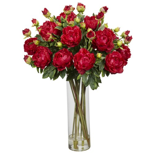 Nearly Natural Giant Peony Silk Flower Arrangement in Red