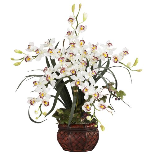 Nearly Natural Cymbidium with Decorative Vase Silk Arrangement in White