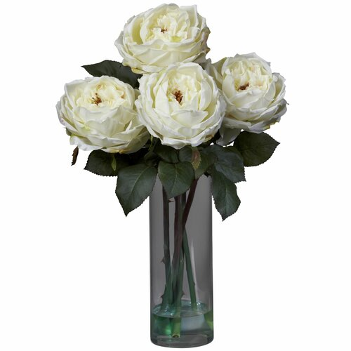 Nearly Natural Fancy Rose with Cylinder Vase Silk Flower Arrangement in White