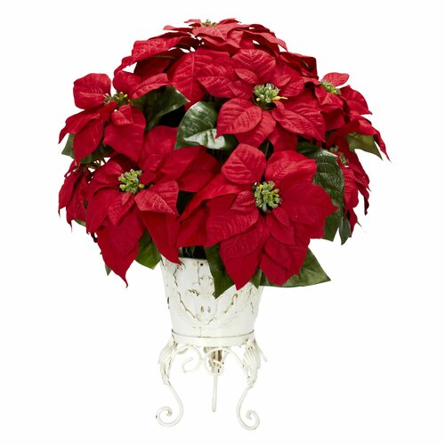 Nearly Natural Poinsettia w/Metal Planter Silk Flower Arrangement