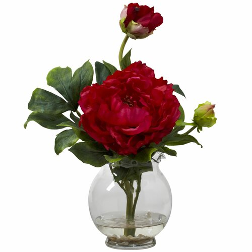 Nearly Natural Peony with Fluted Vase Silk Flower Arrangement in Red