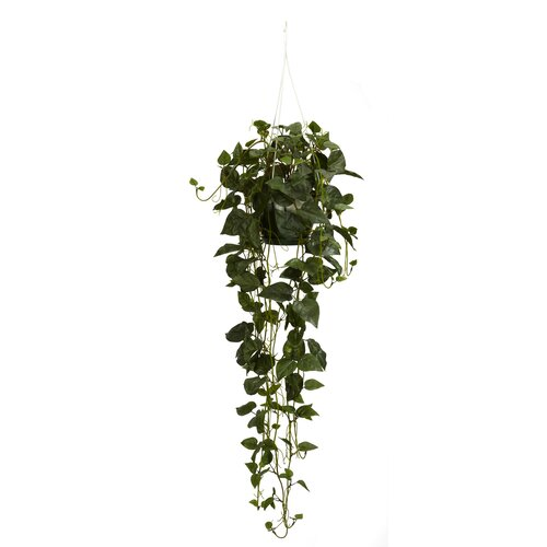 Nearly Natural Philodendron Silk Hanging Plant in Basket