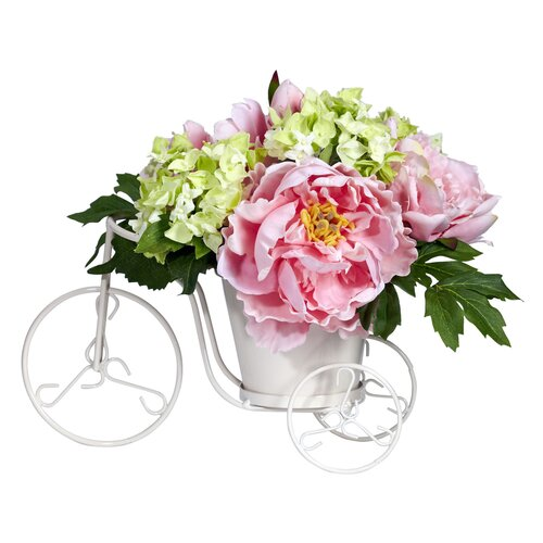 Nearly Natural Peony & Hydrangea Tricycle Silk Flower Arrangement